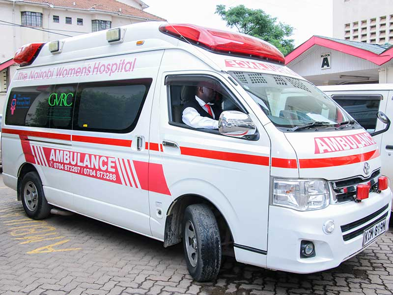 Image of an ambulance at the Nairobi Women's Hospital